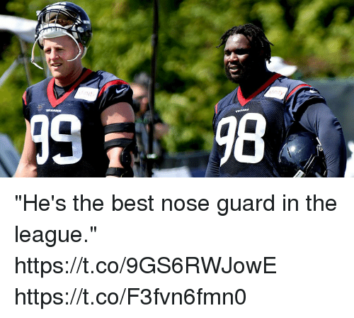 """Memes, Best, and The League: """"He's the best nose guard in the league."""" https://t.co/9GS6RWJowE https://t.co/F3fvn6fmn0"""