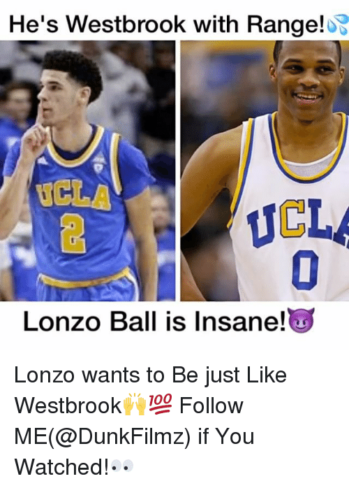 Memes, Insanity, and 🤖: He's Westbrook with Range!  UCLA  Lonzo Ball is Insane! Lonzo wants to Be just Like Westbrook🙌💯 Follow ME(@DunkFilmz) if You Watched!👀