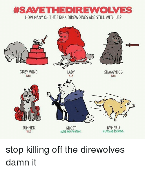 Alive, Memes, and Summer: HESAVETHEDIREWOLVES  LADY  GREY WIND  SHAGGY DOG  RIP  RIP  RIP  GHOST  SUMMER  NYMERIA  RIP  ALIVE AND ESCAPING.  AUVE AND FIGHTING. stop killing off the direwolves damn it