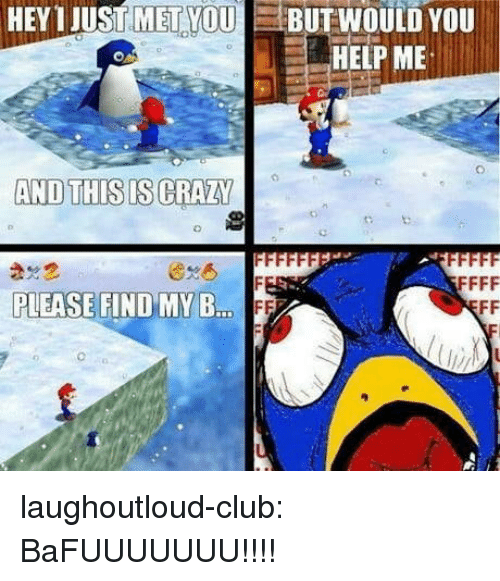 Club, Crazy, and Tumblr: HEY 1 JUST MET YOUBUTWOULD YOU  HELP ME  AND THIS IS CRAZY  PLEASE FIND MY B  ..FF laughoutloud-club:  BaFUUUUUUU!!!!