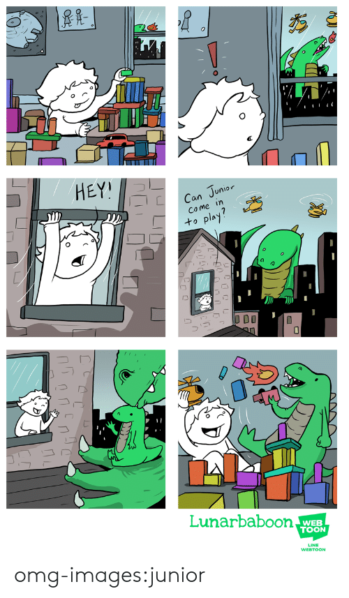 Omg, Tumblr, and Blog: HEY!  an Junior  Come in  to pla  Lunarbaboon  WEB  TOON  LINE  WEBTOON omg-images:junior
