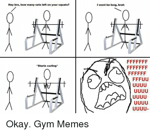 Gym, Memes, and Okay: Hey bro, how many sets left on your squats?  I wont be long, brah  *Starts curling*  い FFFFFF  FFFUU  leo  一) UUUU  FF FUUJUJ  FF FUuUuU  FF Okay.