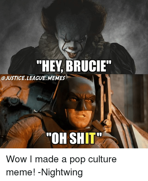 "Meme, Memes, and Pop: ""HEY, BRUCIE""  A)JUSTICE. LEAGUE .MEMES-  ""OH SHIT Wow I made a pop culture meme! -Nightwing"