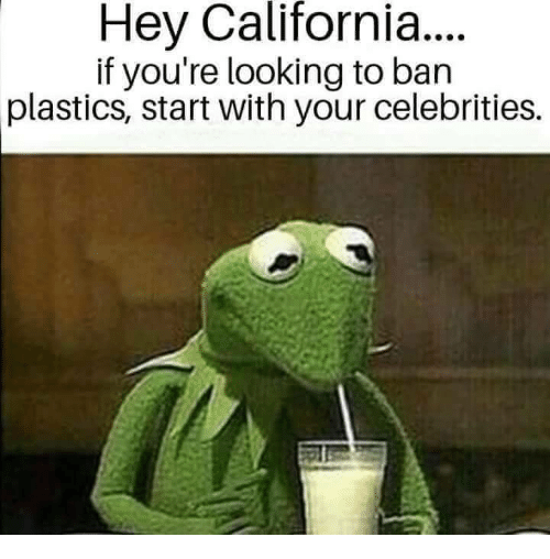 Memes, California, and Celebrities: Hey California...  if you're looking to ban  plastics, start with your celebrities.