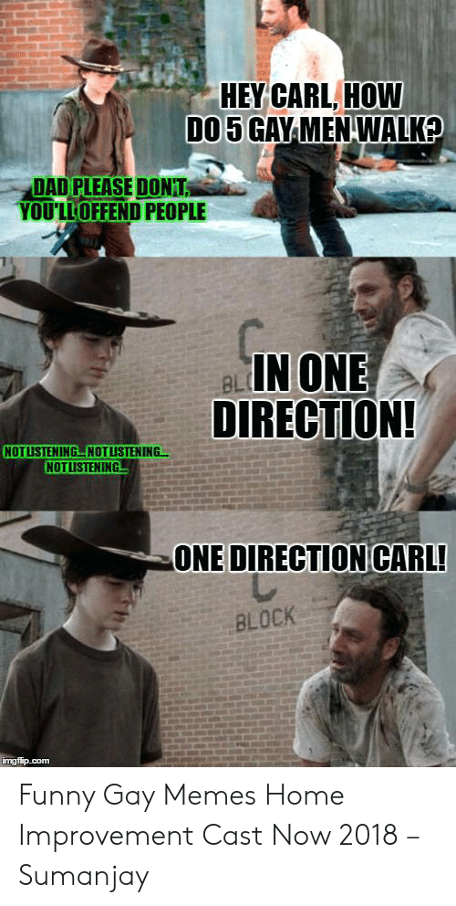 Dad, Funny, and Memes: HEY CARL, HOW  DAD PLEASE DONT  YOU'LLOFFEND PEOPLE  IN ONE  DIRECTION!  BL  NOT LISTENING브NOTUSTENING  NOTLISTENING  ONE DIRECTION CARL  BLOCK Funny Gay Memes Home Improvement Cast Now 2018 – Sumanjay