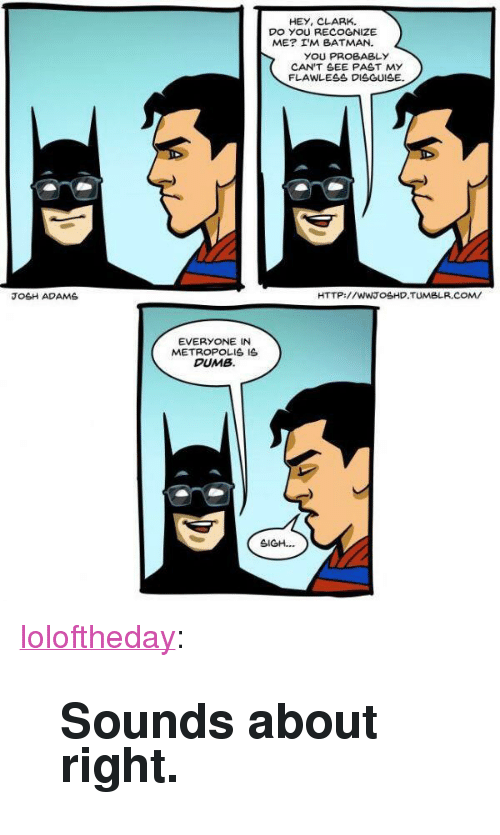 """Batman, Dumb, and Tumblr: HEY, CLARK.  DO YOU RECOGNIZE  ME? I'M BATMAN.  YOU PROBABLY  CAN'T SEE PAST MY  FLAWLESS DISGUISE  JOSH ADAMS  HTTP://WWTOSHD.TUMBLR.COM/  EVERYONE IN  METROPOLIS IS  DUMB  SIGH. <p><a href=""""https://loloftheday.tumblr.com/post/166933177515/sounds-about-right"""" class=""""tumblr_blog"""">loloftheday</a>:</p>  <blockquote><h2>Sounds about right.</h2></blockquote>"""