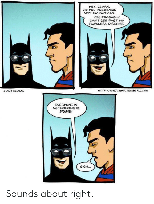 Batman, Dumb, and Tumblr: HEY, CLARK.  DO YOU RECOGNIZE  ME? I'M BATMAN.  YOU PROBABLY  CAN'T SEE PAST MY  FLAWLESS DISGUISE  JOSH ADAMS  HTTP://WWTOSHD.TUMBLR.COM/  EVERYONE IN  METROPOLIS IS  DUMB  SIGH. Sounds about right.