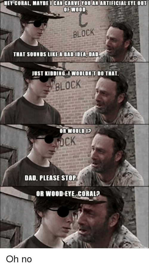 hey coral maybe ican carve youan artificialeye out of wood 4690669 ✅ 25 best memes about dad dad memes