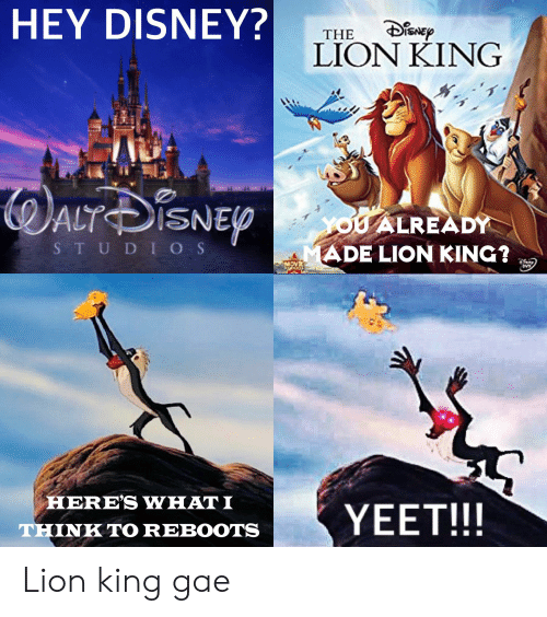 Hey Disney The Lion King Altisnep You Already Ade Lion King Studios Here S What I Yeet Think To Reboots Lion King Gae Disney Meme On Me Me