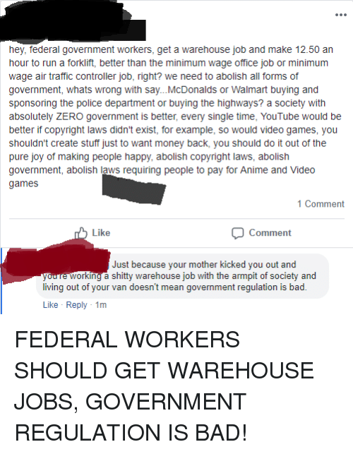 Hey Federal Government Workers Get a Warehouse Job and Make