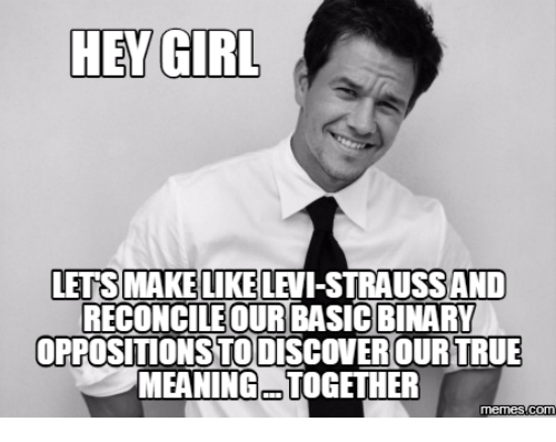hey girl letsmakelike levi straussand reconcile our basicbinary oppositionstodiscoverourtrue meaningatogether memes 15204420 hey girl letsmakelike levi straussand reconcile our basicbinary