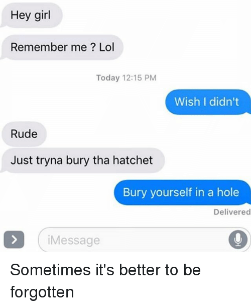 Lol, Relationships, and Rude: Hey girl  Remember me? Lol  Today 12:15 PM  Wish I didn't  Rude  Just tryna bury tha hatchet  Bury yourself in a hole  Delivered  iMessage Sometimes it's better to be forgotten