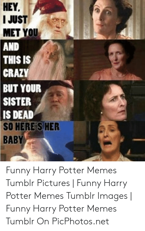 Crazy, Funny, and Harry Potter: HEY  I JUST  MET YOU  AND  THIS IS  CRAZY  BUT YOUR  SISTER  IS DEAD  SO HERE S HER  BABY Funny Harry Potter Memes Tumblr Pictures | Funny Harry Potter Memes Tumblr Images | Funny Harry Potter Memes Tumblr On PicPhotos.net