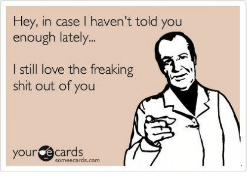 Love, Shit, and Someecards: Hey, in case I haven't told you  enough lately  I still love the freaking  shit out of you  your e cards  someecards.com