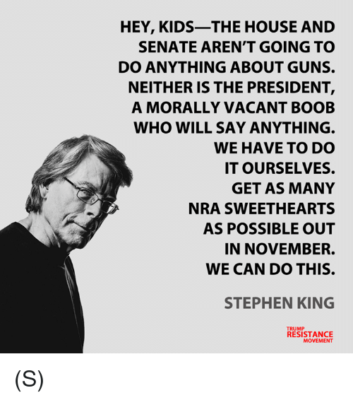 Guns, Stephen, and House: HEY, KIDS-THE HOUSE AND  SENATE AREN'T GOING TO  DO ANYTHING ABOUT GUNS.  NEITHER IS THE PRESIDENT,  A MORALLY VACANT BOOB  WHO WILL SAY ANYTHING.  WE HAVE TO DO  IT OURSELVES.  GET AS MANY  NRA SWEETHEARTS  AS POSSIBLE OUT  IN NOVEMBER.  WE CAN DO THIS.  STEPHEN KING  TRUMP  RESISTANCE  MOVEMENT (S)