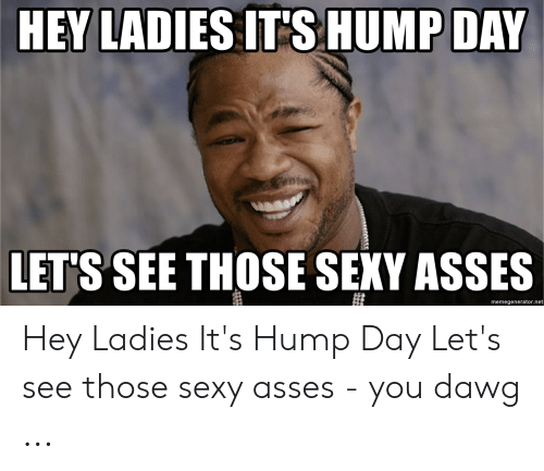Hump Day, Sexy, and Asses: HEY LADIES IT'S HUMP DAY  LETS SEE THOSE SEXY ASSES  memegenerator.net Hey Ladies It's Hump Day Let's see those sexy asses - you dawg ...