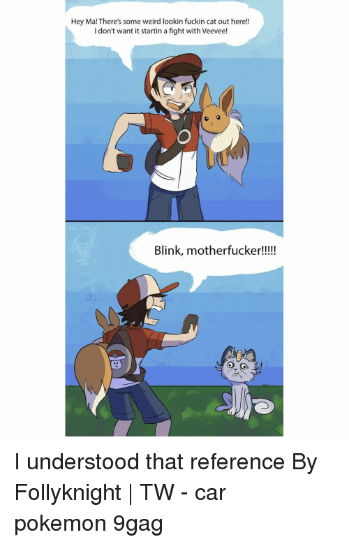 9gag, Memes, and Pokemon: Hey Ma! There's some weird lookin fuckin cat out here!!  I don't want it startin a fight with Veevee!  Blink, motherfucker!!!!  LINDSEY K I understood that reference⠀ By Follyknight | TW⠀ -⠀ car pokemon 9gag