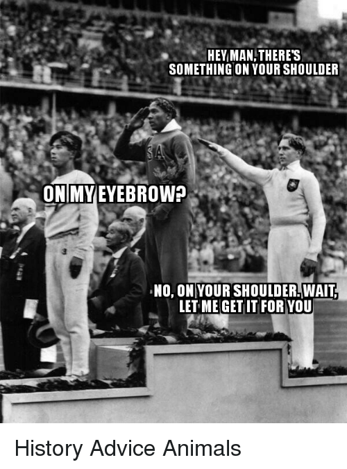 Advice, Animals, and History: HEY MAN,THERES  SOMETHING ON YOUR SHOULDER  ONIMYEYEBROW?  , NO, ON|YOUR SHOULDERWAIT  LET ME GET IT FOR YOU <p>History Advice Animals</p>