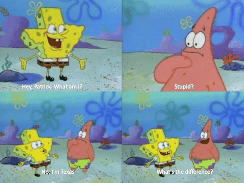 Texas, What, and Hey: Hey, Patrick. What am 1?  Stupid?  No, I'm Texas  at's the difference?