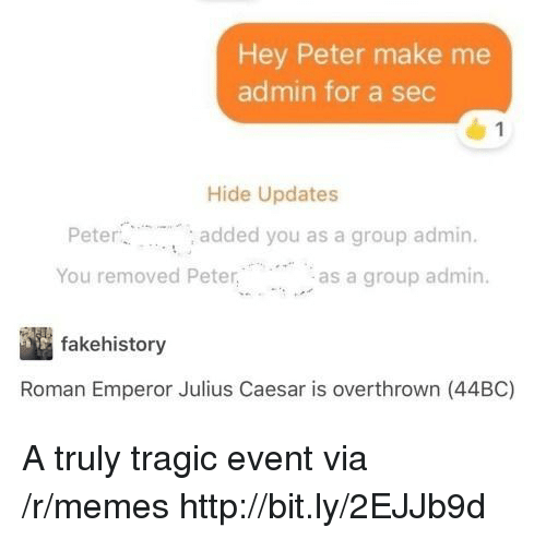 Memes, Http, and Julius Caesar: Hey Peter make me  admin for a sec  Hide Updates  Pete  You removed Peteras a group admin.  added you as a group admin.  fakehistory  Roman Emperor Julius Caesar is overthrown (44BC) A truly tragic event via /r/memes http://bit.ly/2EJJb9d