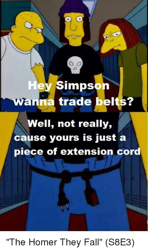 """Anna, Fall, and Memes: Hey Simpson  anna trade belts?  Well, not really,  cause yours is just a  piece of extension cor """"The Homer They Fall""""  (S8E3)"""