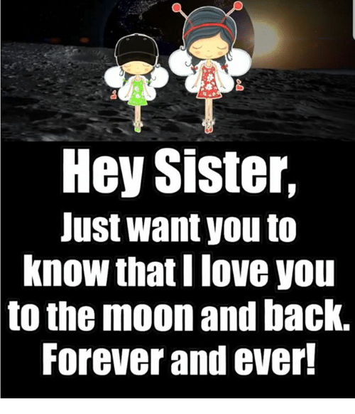 hey sister just want you to know thati love you 31324157 hey sister just want you to know thati love you to the moon and back