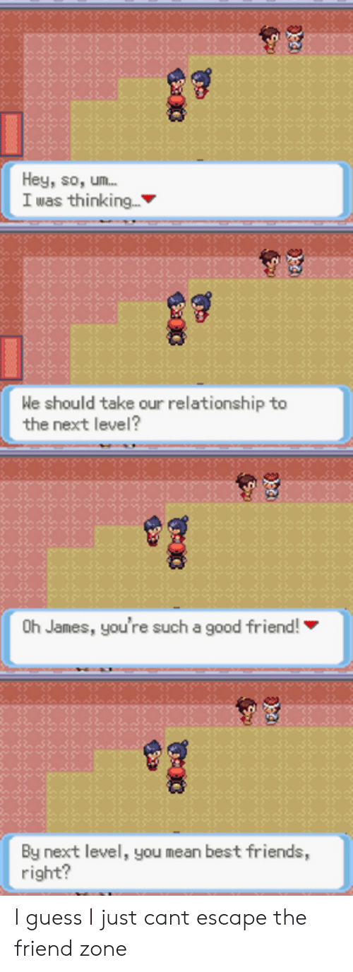 Friends, Best, and Good: Hey, so, um...  I was thinking...  We should take our relationship to  the next level?  8  Oh James, you're such a good friend!  By next level, you mean best friends,  right? I guess I just cant escape the friend zone