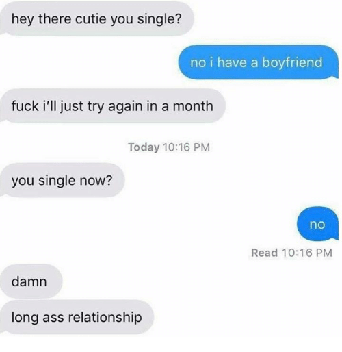 Ass, Dank, and Fuck: hey there cutie you single?  no i have a boyfriend  fuck i'll just try again in a month  Today 10:16 PM  you single now?  no  Read 10:16 PM  damn  long ass relationship
