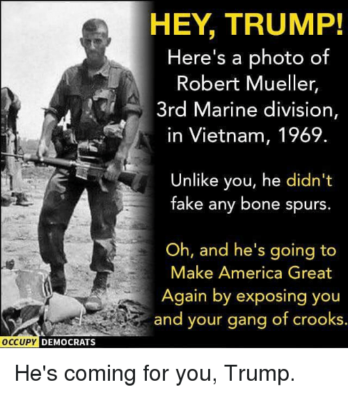 America, Memes, and Gang: HEY, TRUMP!  Here's a photo of  Robert Mueller,  3rd Marine division,  in Vietnam, 1969.  Unlike you, he didn't  Take any bone spurs.  Oh, and he's going to  Make America Great  Again by exposing you  and your gang of crooks  DEMOCRATS He's coming for you, Trump.