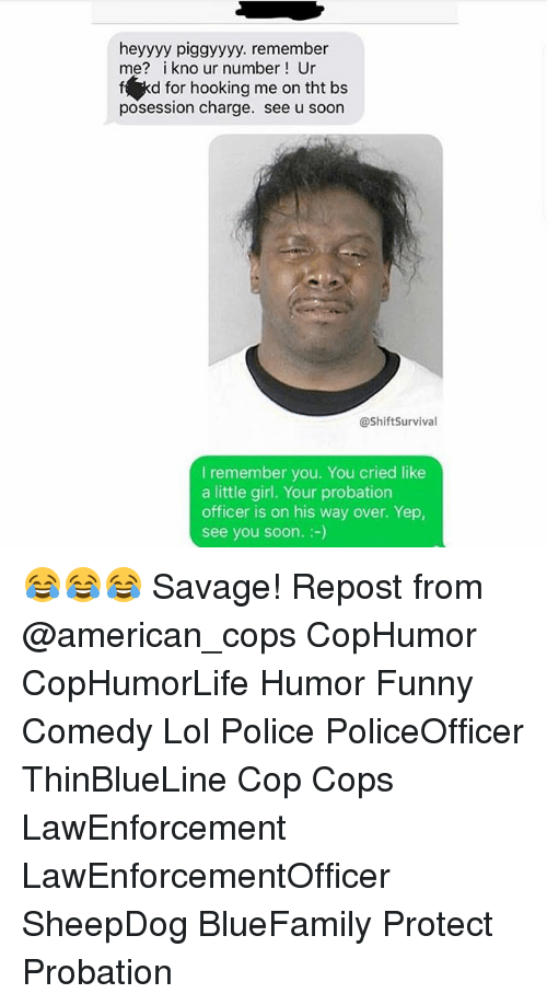 Funny, Lol, and Memes: heyyyy piggyyyy. remember  me? i kno ur number Ur  f kd for hooking me on tht bs  posession charge. see u soon  @ShiftSurvival  I remember you. You cried like  a little girl. Your probation  officer is on his way over. Yep,  see you soon.:-) 😂😂😂 Savage! Repost from @american_cops CopHumor CopHumorLife Humor Funny Comedy Lol Police PoliceOfficer ThinBlueLine Cop Cops LawEnforcement LawEnforcementOfficer SheepDog BlueFamily Protect Probation