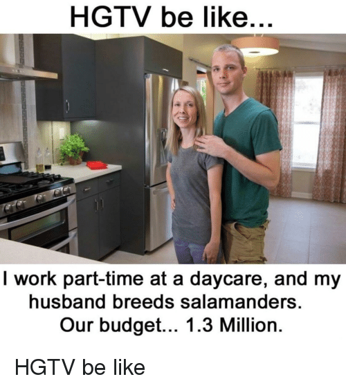 Be Like, Reddit, and Work: HGTV be like  I work part-time at a daycare, and my  husband breeds salamanders  Our budget... 1.3 Million
