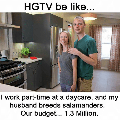 Be Like, Work, and Budget: HGTV be like  I work part-time at a daycare, and my  usband breeds salamanders  Our budget... 1.3 Million