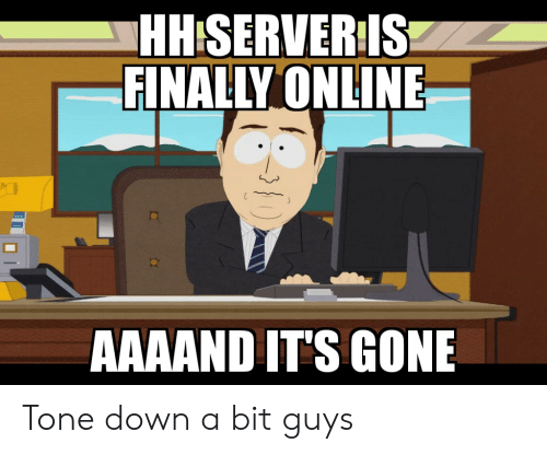 Anime, Gone, and Down: HHISERVERIS  FINALLY ONLINE  AAAAND IT'S GONE Tone down a bit guys