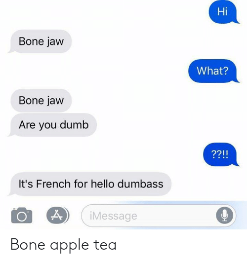 Apple, Dank, and Dumb: Hi  Bone jaw  What?  Bone jaw  Are you dumb  It's French for hello dumbass  Message Bone apple tea