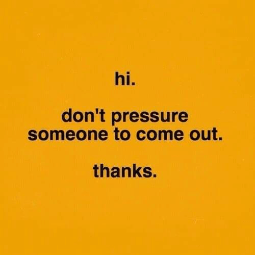 Pressure, Thanks, and Someone: hi.  don't pressure  someone to come out.  thanks.