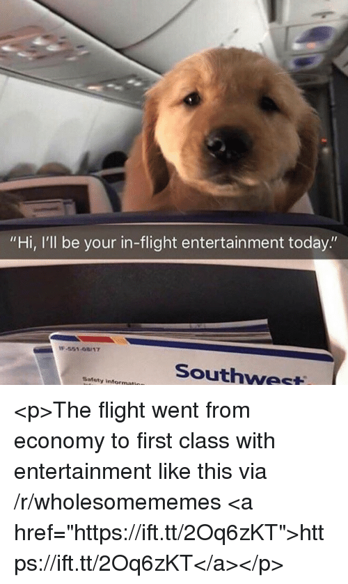 "Flight, Southwest, and Today: ""Hi, I'll be your in-flight entertainment today.""  -551-08/17  Southwest  Safety informati <p>The flight went from economy to first class with entertainment like this via /r/wholesomememes <a href=""https://ift.tt/2Oq6zKT"">https://ift.tt/2Oq6zKT</a></p>"