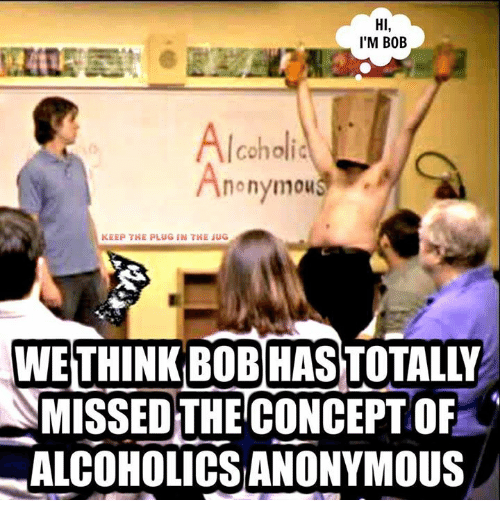 Memes, Alcohol, and Alcoholic: HI,  I'M BOB  Alcoholic  nonymous  KEEP THE PLUG IN THE JUG  WE THINK BOB HAS  SMISSED THE CONCEPTOF  ALCOHOLICSANONYMOUS