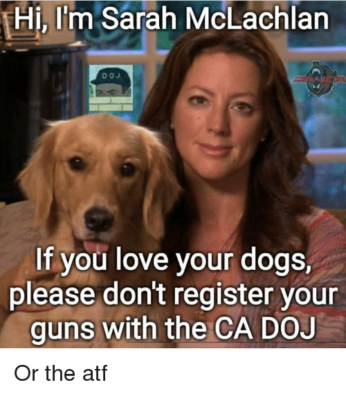 Dogs, Guns, and Love: Hi, I'm Sarah McLachlan  If you love your dogs,  please don't register your  guns with the CA DOJ Or the atf