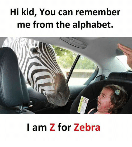 Memes, Alphabet, and 🤖: Hi kid, You can remember  me from the alphabet.  I am Z for Zebra