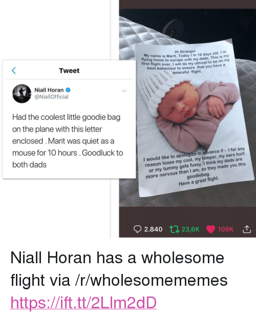 """Cool, Ensure, and Europe: Hi Stranger  y name is Marit, Today I'm 18 days old. m  ing home to europe with my dads. This is  my  Tirst flight ever. I will do my utmost to be on my  est behaviour to ensure that you have a  peaceful flight.  Tweet  Niall Horan  @NiallOfficial  Had the coolest little goodie bag  on the plane with this letter  enclosed.Marit was quiet as a  mouse for 10 hours.Goodluck to  both dads  I would like to apologize in advance if - I for any  reaso  n loose my cool, my temper, my ears hurt  I think my dads are  or my tummy gets fussy.  more nervous than I am, so they made  goodiebag  Have a great flight.  02.840 tJ  23,6K  109K <p>Niall Horan has a wholesome flight via /r/wholesomememes <a href=""""https://ift.tt/2Llm2dD"""">https://ift.tt/2Llm2dD</a></p>"""