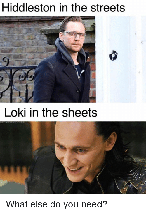 Memes, Streets, and 🤖: Hiddleston in the streets  Loki in the sheets  EA What else do you need?