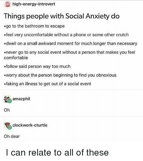 High-Energy-Introvert Things People With Social Anxiety Do ...