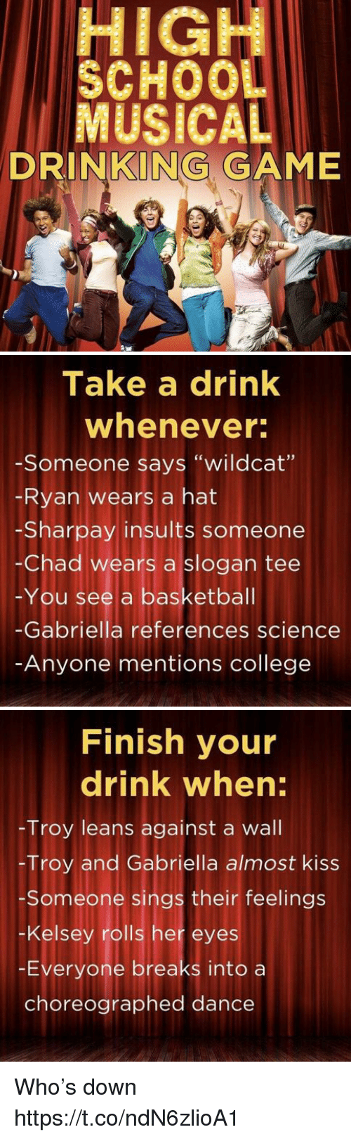 "Basketball, College, and Drinking: HIGH  SCHOOL  MUSICAL  DRINKING GAME   Take a drink  whenever  -Someone says ""wildcat'""  Ryan wears a hat  -Sharpay insults someone  -Chad wears a slogan tee  You see a basketball  Gabriella references science  Anyone mentions college   Finish your  drink when:  Troy leans against a wall  -Troy and Gabriella almost kiss  Someone sings their feelings  -Kelsey rolls her eyes  Everyone breaks into a  choreographed dance Who's down https://t.co/ndN6zlioA1"