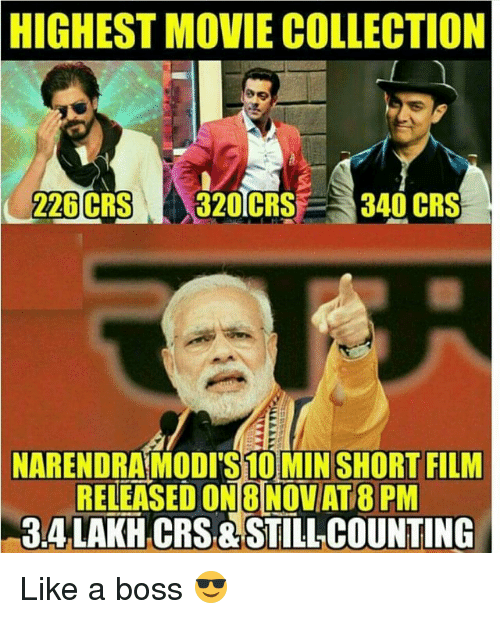 Memes, Collective, and Film: HIGHEST MOVIE COLLECTION  226 CRS  320 CRS  340 CRS  NARENDRAMODITS10MIN SHORT FILM  RELEASED ONBINOVAT PM  TT  CRS STILL COUNTING Like a boss 😎