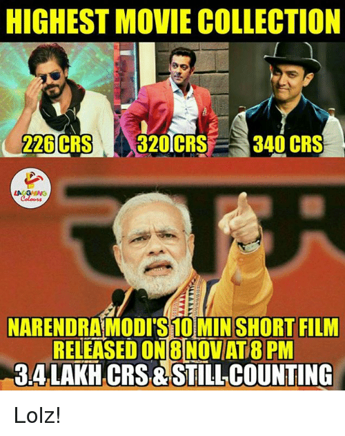 Collective, Film, and Indianpeoplefacebook: HIGHEST MOVIE COLLECTION  226  CRS 320TCRS  340 CRS  NARENDRAMODITS10MIN SHORT FILM  RELEASED ON 8 NOVAT8 PM  BALAKH CRS STILL COUNTING Lolz!