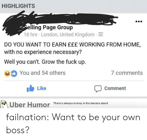 Money, Tumblr, and Uber: HIGHLIGHTS  lling Page Group  16 hrs London, United Kingdom  DO YOU WANT TO EARN EEE WORKING FROM HOME,  with no experience necessary?  Well you can't. Grow the fuck up  You and 54 others  b Like  7 comments  Comment  Uber Humor  There's always money in the banana stand failnation:  Want to be your own boss?
