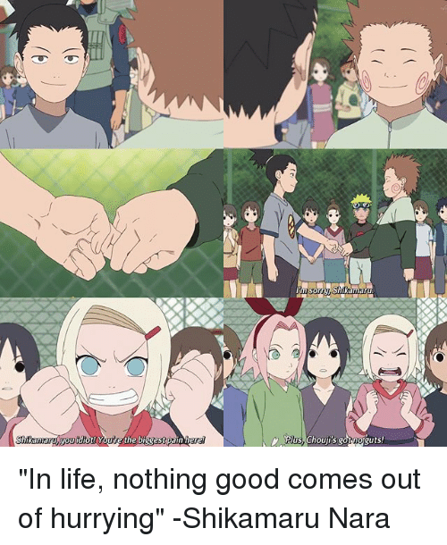 """Life, Memes, and Good: hikamary you  iot! Youre the biggest pain her  plus, Chouji's noguts """"In life, nothing good comes out of hurrying"""" -Shikamaru Nara"""