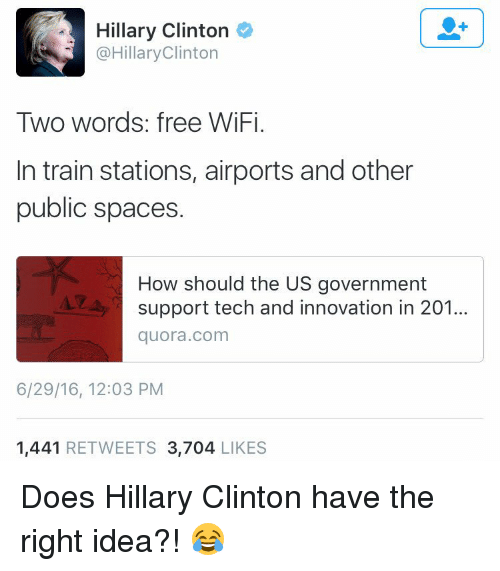 Hillary Clinton Clinton Two Words Free WiFi in Train Stations