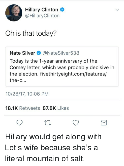 Hillary Clinton, Silver, and Today: Hillary Clinton  @HillaryClinton  Oh is that today?  Nate Silver @NateSilver538  Today is the 1-year anniversary of the  Comey letter, which was probably decisive in  the election. fivethirtyeight.com/features/  the-c...  10/28/17, 10:06 PM  18.1K Retweets 87.8K Likes <p>Hillary would get along with Lot's wife because she's a literal mountain of salt.</p>