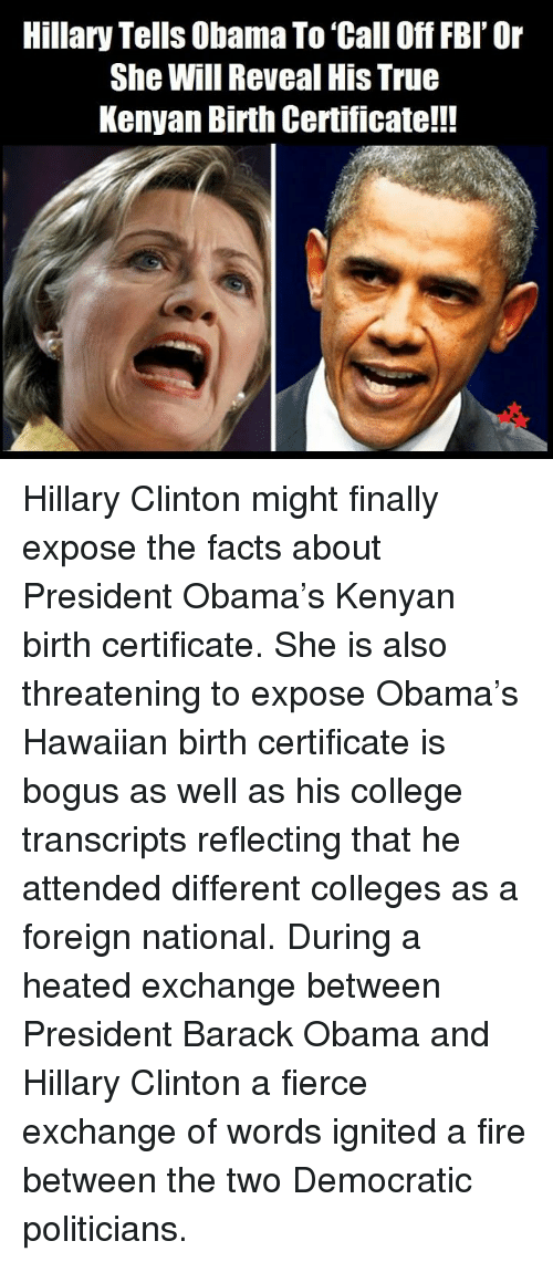 Hillary Tells Obama To Call Off Fbi Or She Will Reveal His True